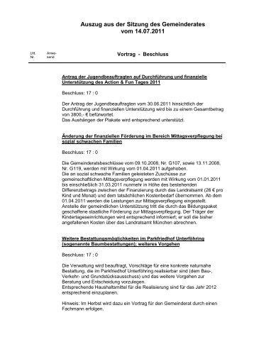 Auszug aus der Sitzung des Gemeinderates vom 14.07.2011