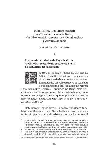 Helenismo, filosofia e cultura no Renascimento italiano, de ... - SciELO