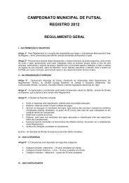 campeonato municipal de futsal registro 2012 regulamento ... - AAGSP