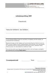 Aufnahmeprüfung 2009 Französisch Name der ... - Unterstrass.edu