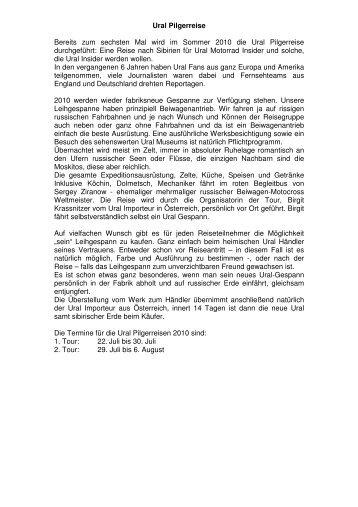 Ural Pilgerreise Bereits zum sechsten Mal wird im Sommer 2010 die ...