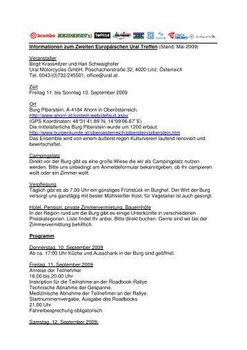 Informationen zum Zweiten Europäischen Ural Treffen (Stand: Mai ...