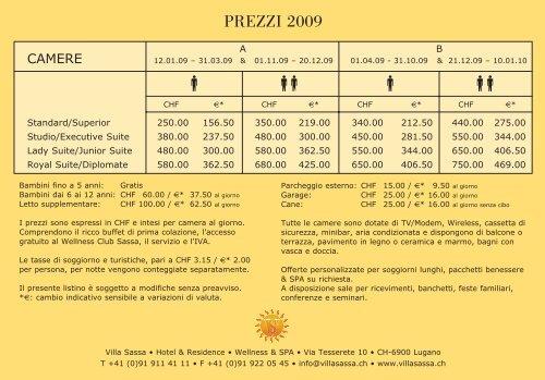 VS listino prezzi09.qxd - Villa Sassa