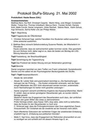 Protokoll StuPa-Sitzung 21. Mai 2002 - UStA