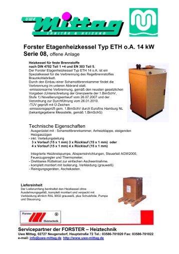 Forster Festbrennstoffkessel Typ FK 14