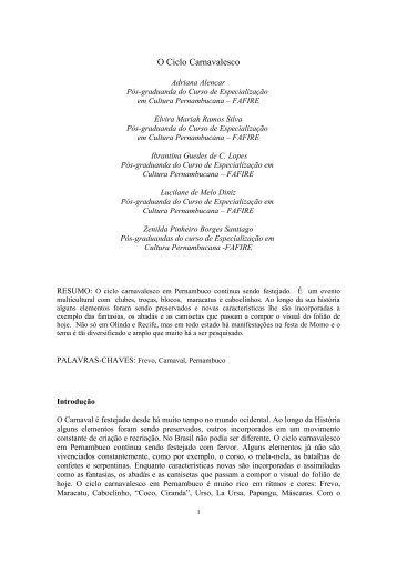 Ciclo Carnavalesco - Instituto Cultural Ladjane Bandeira