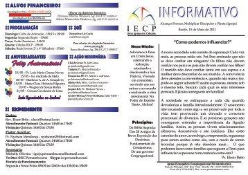05'15 informativo - Igreja Evangélica Congregacional Pernambucana