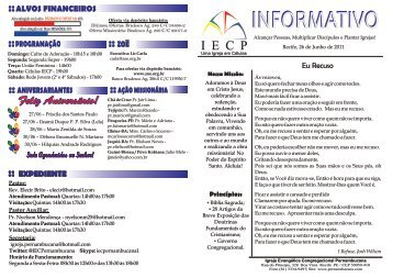 INFORMATIVO - Igreja Evangélica Congregacional Pernambucana