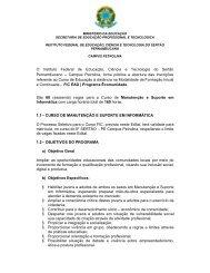 Edital Curso de Manutenção e Suporte em Informática