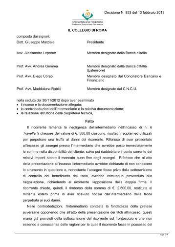 Decisione N. 853 del 13 febbraio 2013 - Arbitro Bancario Finanziario
