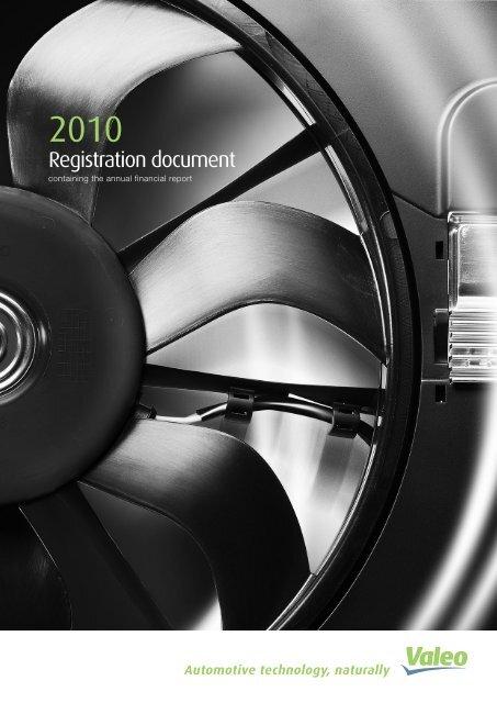 2010 Registration Document Pdf Valeo