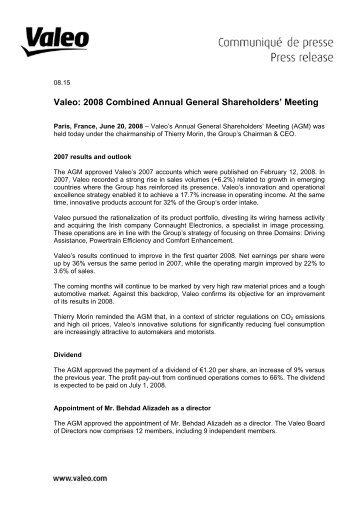 Press release - Valeo