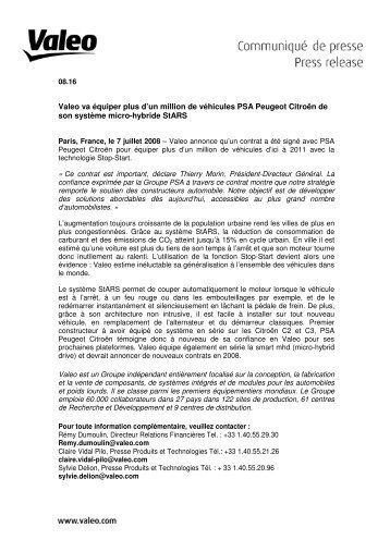 Valeo va équiper plus d'un million de véhicules PSA Peugeot ...