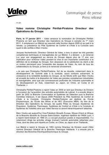 Valeo nomme Christophe Périllat-Piratoine Directeur des ...