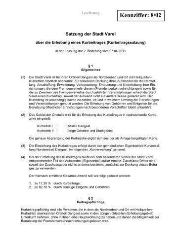 Satzung der Stadt Varel über die Erhebung eines