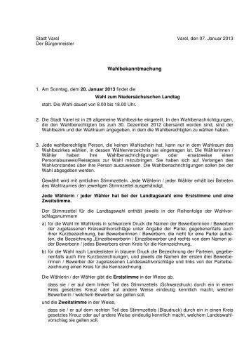 Wahlbekanntmachung geändert - Stadt Varel