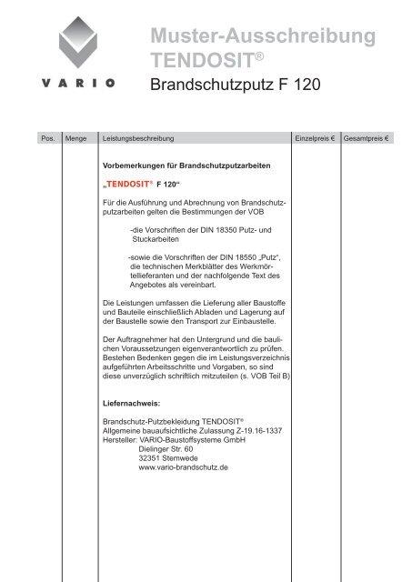 Muster Ausschreibung Tendosit Vario Brandschutz De