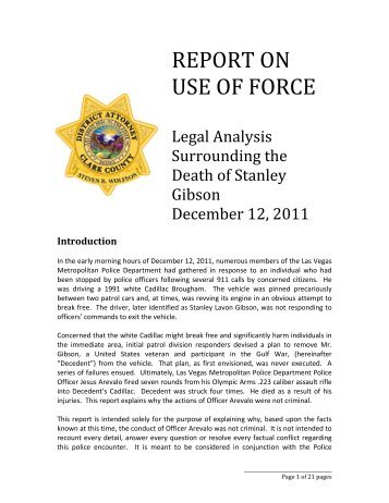 REPORT ON USE OF FORCE