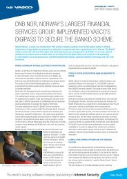 DNB NOR, NORWAY'S LARGEST FINANCIAL SERVICES ... - Vasco