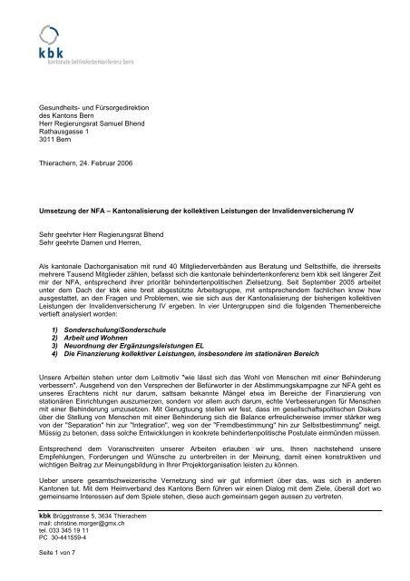 Stellungnahme der kbk zum NFA - Vereinigung Cerebral