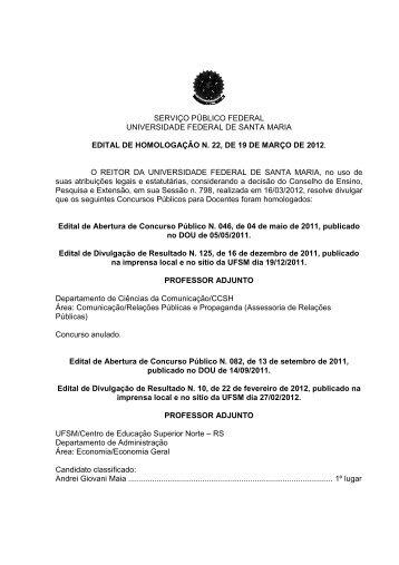 Área: Comunicação/Relações Públicas e Propaganda - UFSM