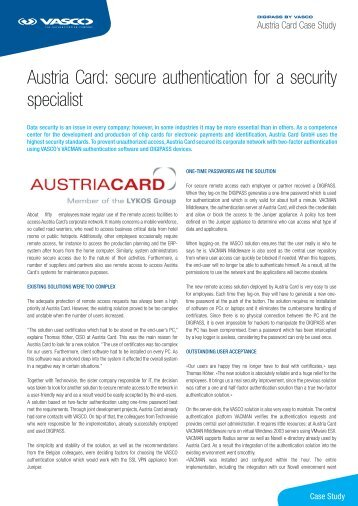 Austria Card: secure authentication for a security specialist - Vasco