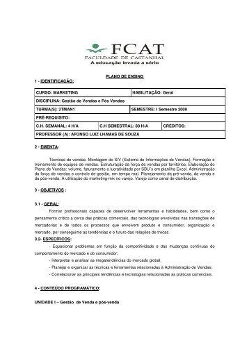 PLANO DE ENSINO 1 - IDENTIFICAÇÃO: CURSO ... - FCAT
