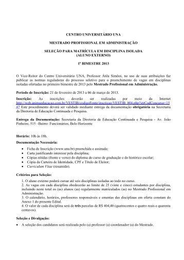 Edital Disciplina Isolada - Mestrado em Administração - Una