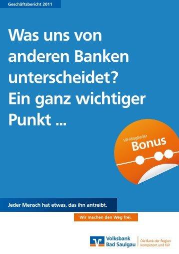 Geschäftsbericht 2011 - Volksbank Bad Saulgau eG
