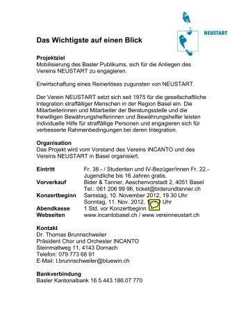 Informationen zu den Ausführenden - Verein NEUSTART