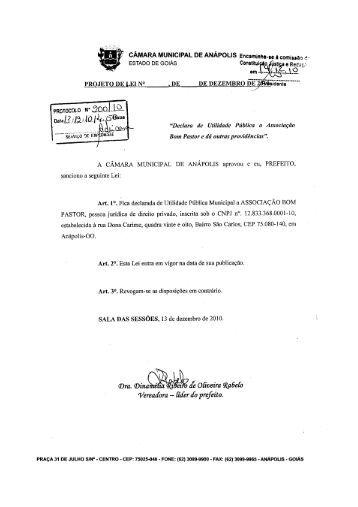 projeto de lei - www camaraanapolis go gov br