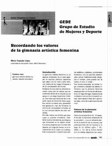 GEDE Grupo de Estudio de Mujeres y Deporte Recordando ... - apunts