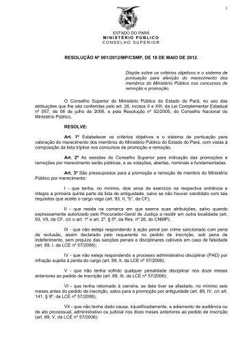 RESOLUÇÃO Nº 001/2012/MP/CSMP, DE 18 DE MAIO DE 2012 ...