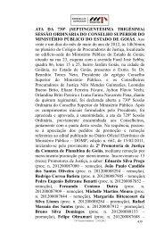 Movimentação na carreira - Ministério Público do Estado de Goiás