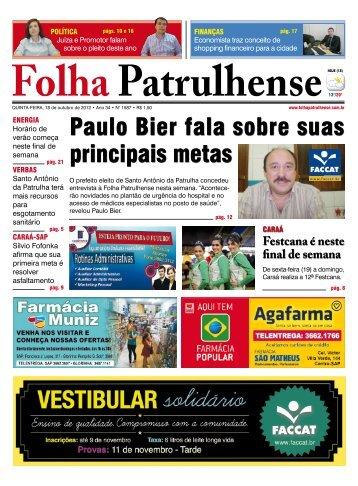 Paulo Bier fala sobre suas principais metas - Folha Patrulhense