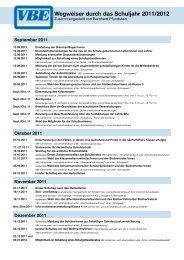 Wegweiser durch das Schuljahr 2011/2012 - VBE Baden-Württemberg