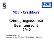 Crashkurs Schul-, Jugend- und Beamtenrecht 2012 - VBE Baden ...