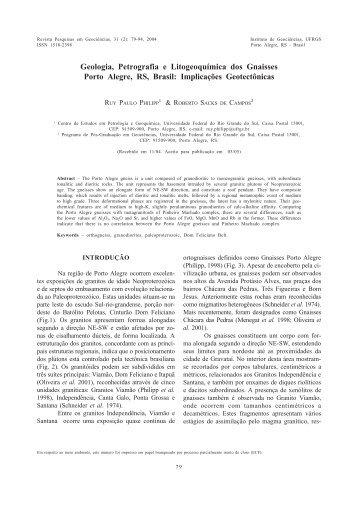Geologia, Petrografia e Litogeoquímica dos Gnaisses Porto Alegre ...