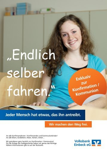 Exklusiv zur Konfirmation/ Kommunion - Volksbank Einbeck eG