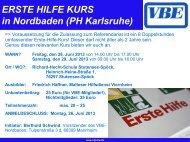 ERSTE HILFE KURS in Nordbaden (PH Karlsruhe)