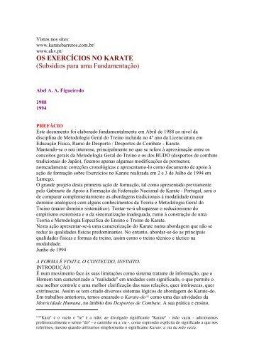 OS EXERCÍCIOS NO KARATE (Subsídios para uma Fundamentação)