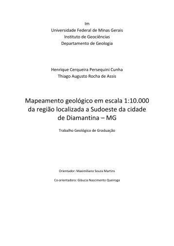 Mapeamento geológico em escala 1:10.000 da região ... - UFMG