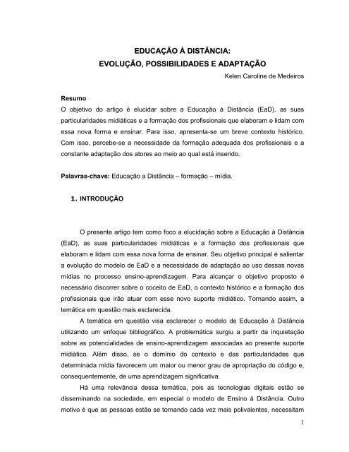 artigo ead kelen medeiros pdf análise crítica das mídias digitais