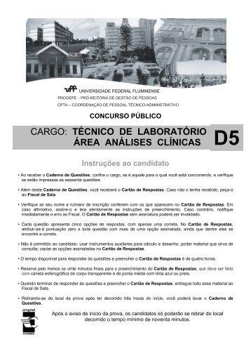 cargo: técnico de laboratório área análises clínicas - UFF