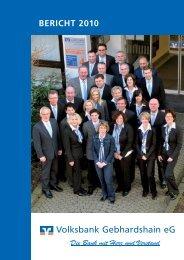 Jahresbericht 2010 -  Volksbank Gebhardshain eG