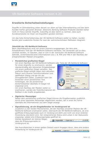 Erweiterte Sicherheitseinstellungen (PDF) - Volksbank Regensburg eG