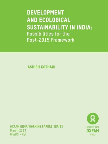 Development and Ecological Sustainability in India: