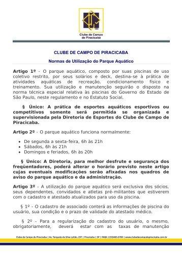 NORMAS PARA USO DO PARQUE AQUÁTICO - Clube de Campo ...