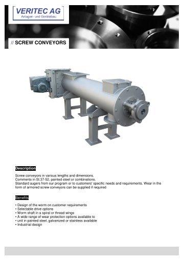 VERITEC_Screw conveyors EN - VERITEC AG, Anlagen