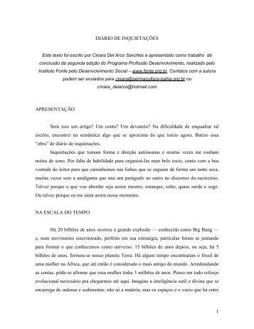 1 DIÁRIO DE INQUIETAÇÕES APRESENTAÇÃO ... - Instituto Fonte